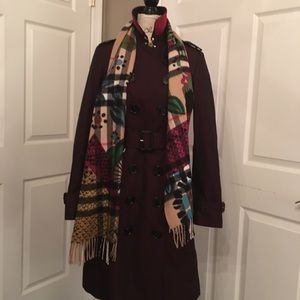 Burberry coat w removable plaid wool lining. New